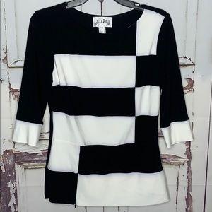Blouse Black White Color Block Joseph Ribkoff 8